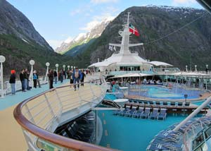 View from top deck of Alaskan cruise ship