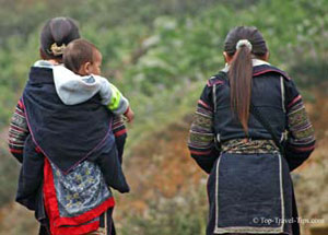 Two women travelling with baby in Sapa Vietnam