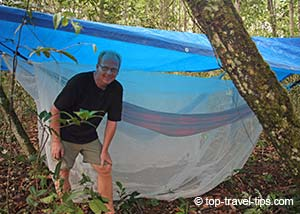 Birgir Gislason camping in Amazon jungle