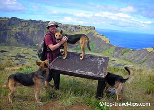 Birgir Gislason and dogs Easter Island