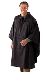 Man wearing Magellans rain poncho