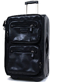 Black colored upright leather luggage