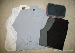 Bundle packing method explained with two shirts and two trousers
