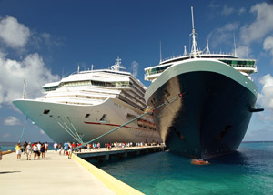 Two cruise ships in harbour