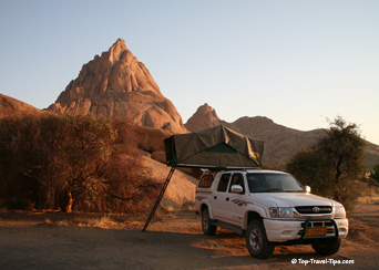 Camping on pickup in Namibia