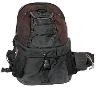Our black Lowepro Rower AW II camera bag