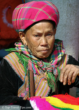 Portrait of an elderly woman in Sapa in Vietnam
