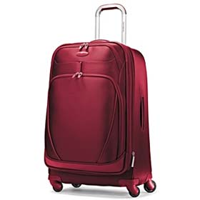Red colored expandable spinner bag