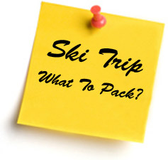 Yellow sticker note reminder of what to pack for ski trip