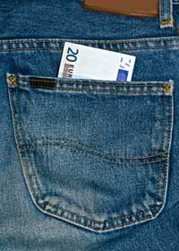 20 euros note sticking out of jeans back pocket