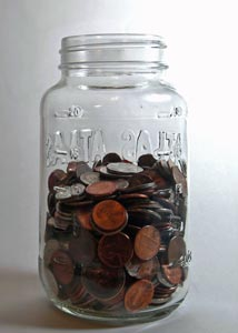 Small coins in a jar