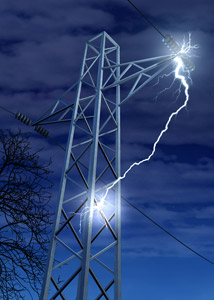 Striking lightning into electronic mast