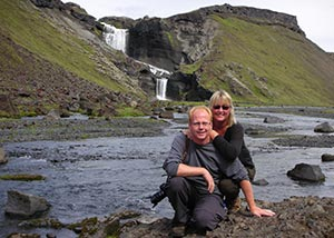 Tourists travelling in remote region of Iceland