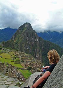 Asa Gislason at Machu Picchu in Peru