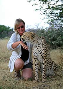 Asa Gislason with cheetah in Namibia