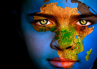 Travel tips - The African continent with face imposed over it