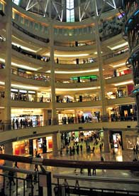 Inside of large shopping mall