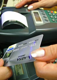 Shopper paying with a credit card