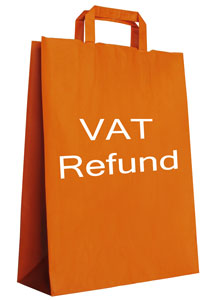 Yellow paper bag with VAT Refund printed on it