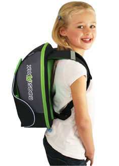 Young girl with Trunki BoostApak travel car seat converted into kid backpack